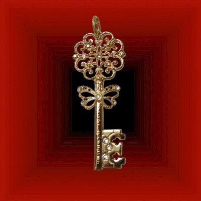 Pendentif clé plaqué or © Sylune Créations