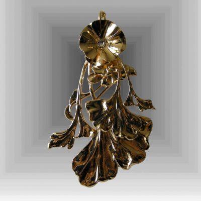 Pendentif plaqué or feuilles gingko © Sylune Créations